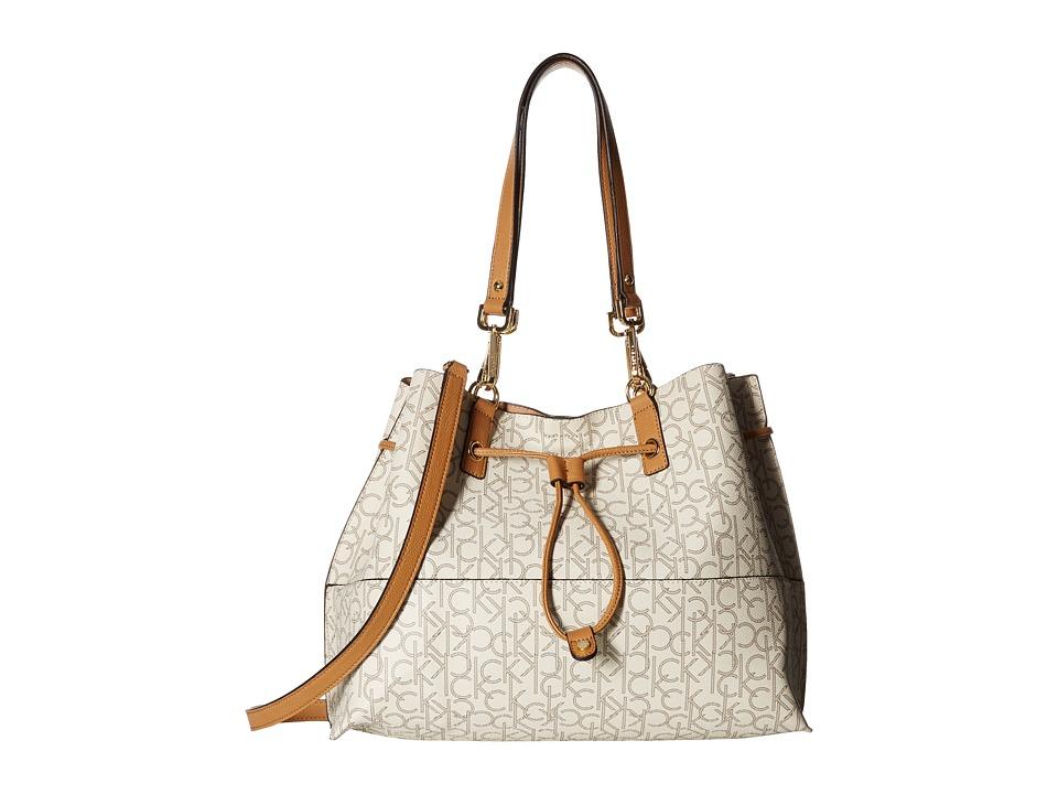 Calvin Klein - Monogram Tote (Almond/Khaki/Cashew) Tote Handbags