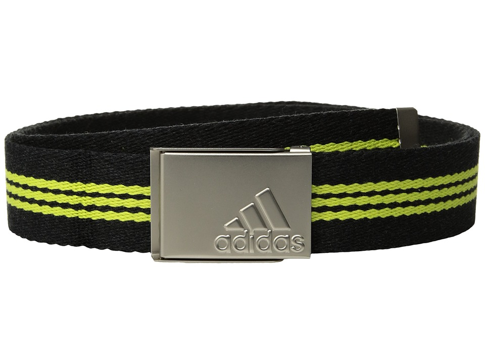 adidas Golf - 3-Stripes Webbing Belt (Black Heather/Semi Solar Yellow) Men's Belts