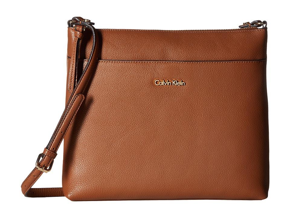 Calvin Klein - Pebble Leather Crossbody (Luggage) Cross Body Handbags
