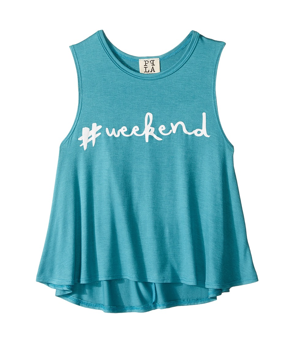 People's Project LA Kids - Hashtag Weekend Tank Top (Big Kids) (Teal) Girl's Sleeveless