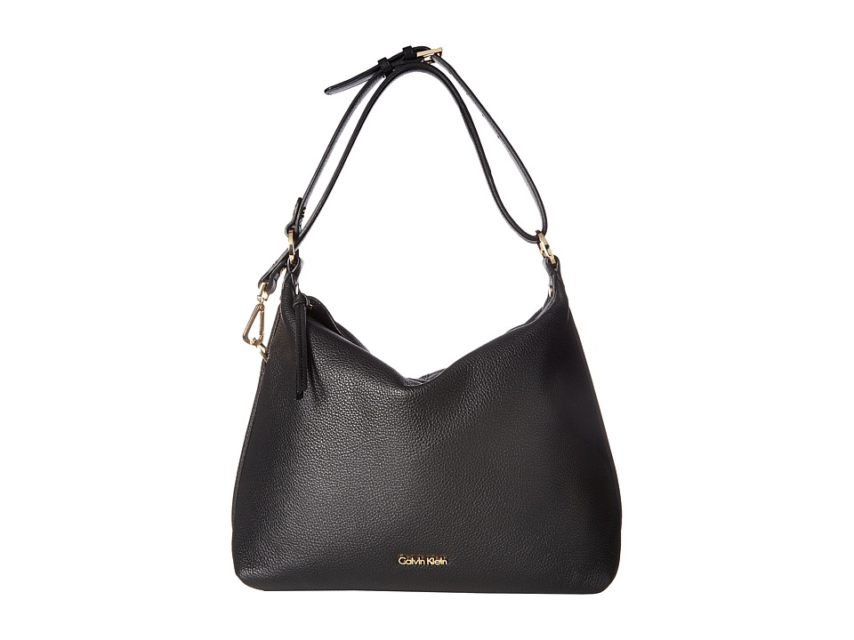 Calvin Klein - Pebble Leather Hobo Bag (Black/Gold) Hobo Handbags
