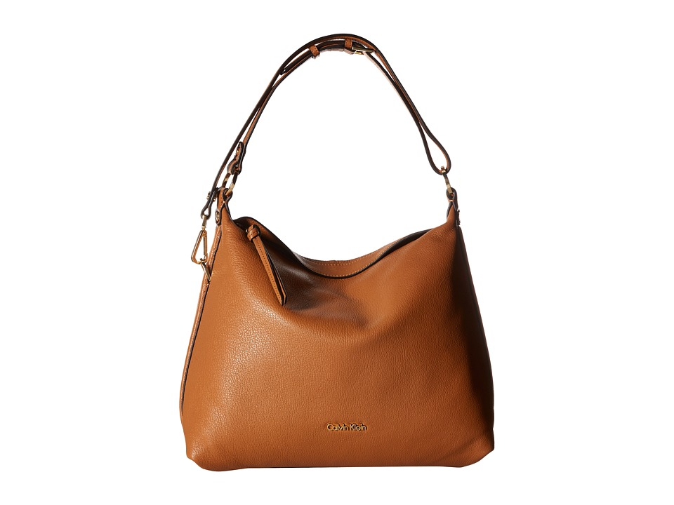 Calvin Klein - Pebble Leather Hobo Bag (Caramel) Hobo Handbags