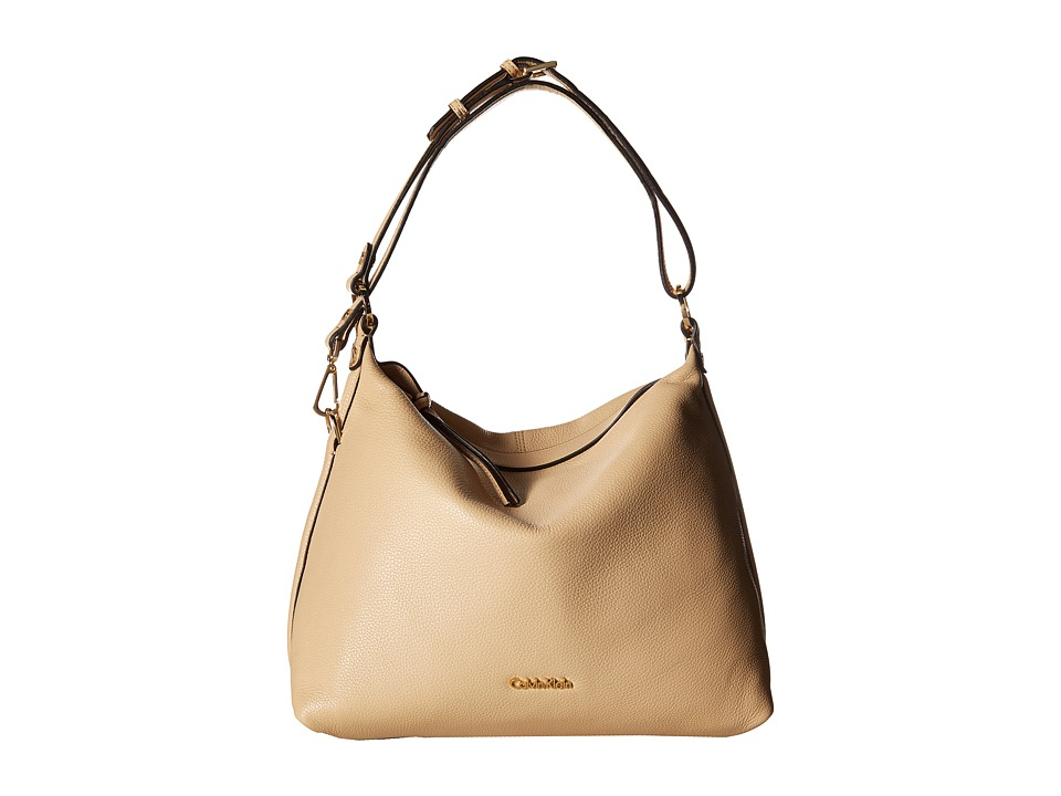 Calvin Klein - Pebble Leather Hobo Bag (Nude) Hobo Handbags