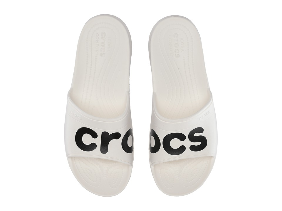 Crocs - Classic Graphic Slide (White/Black) Slide Shoes