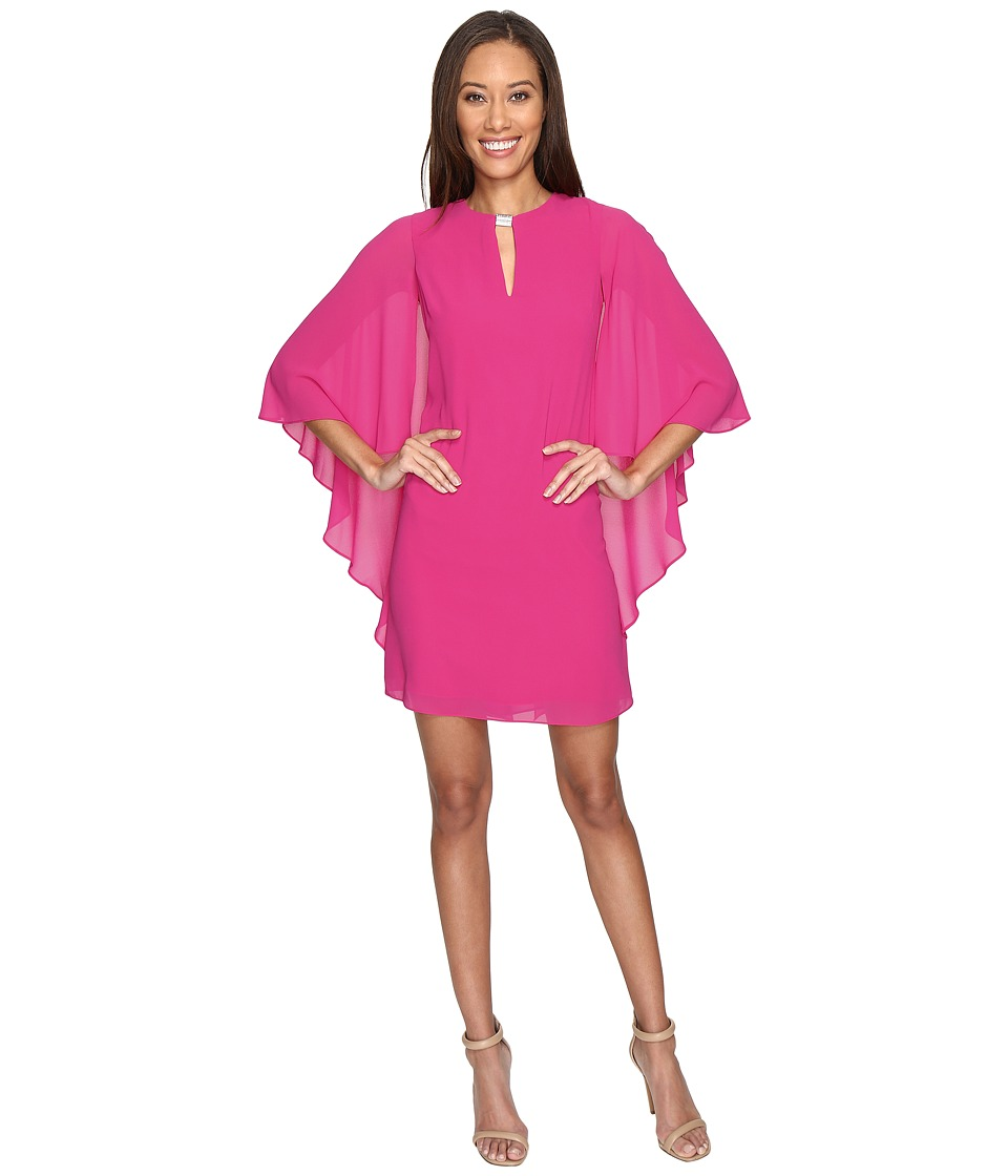 Vince Camuto - Flutter Sleeve Sheath with Hardware Keyhole (Fuchsia) Women's Dress