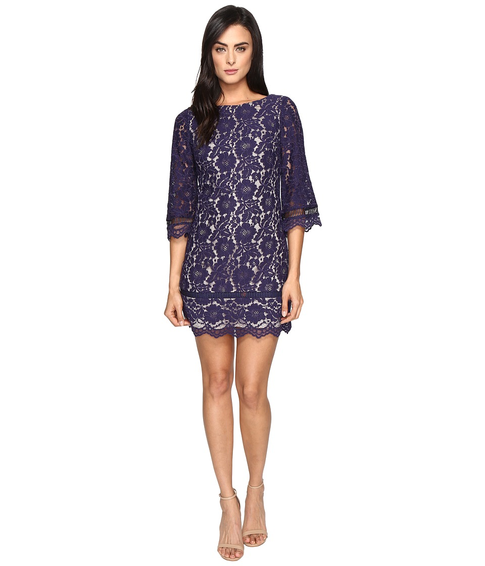 Vince Camuto - Lace Elbow Sleeve Shift Dress (Navy) Women's Dress