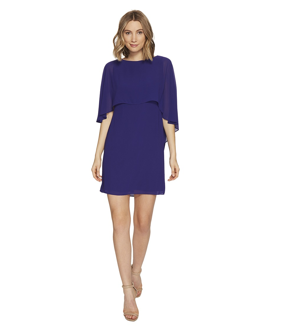 Vince Camuto - Dress with Bateau Neckline and Cape Back Overlay (Royal) Women's Dress