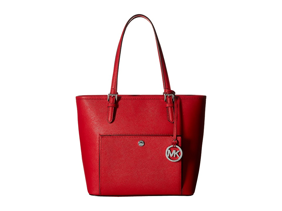 MICHAEL Michael Kors - Jet Set Item Medium Top Zip Snap Pocket Tote (Bright Red) Tote Handbags
