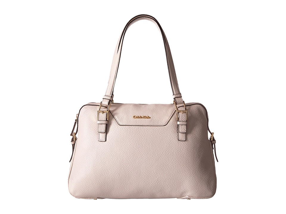 Calvin Klein - Quilted Leather Pebble Satchel (White) Satchel Handbags