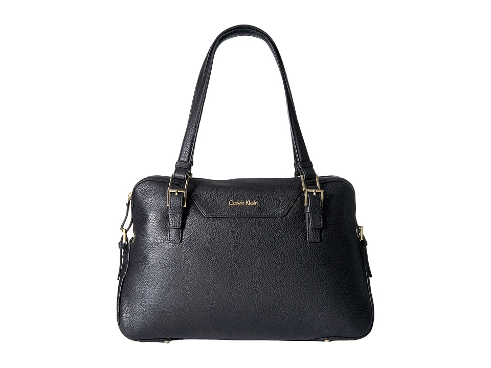 Calvin Klein - Quilted Leather Pebble Satchel (Black) Satchel Handbags
