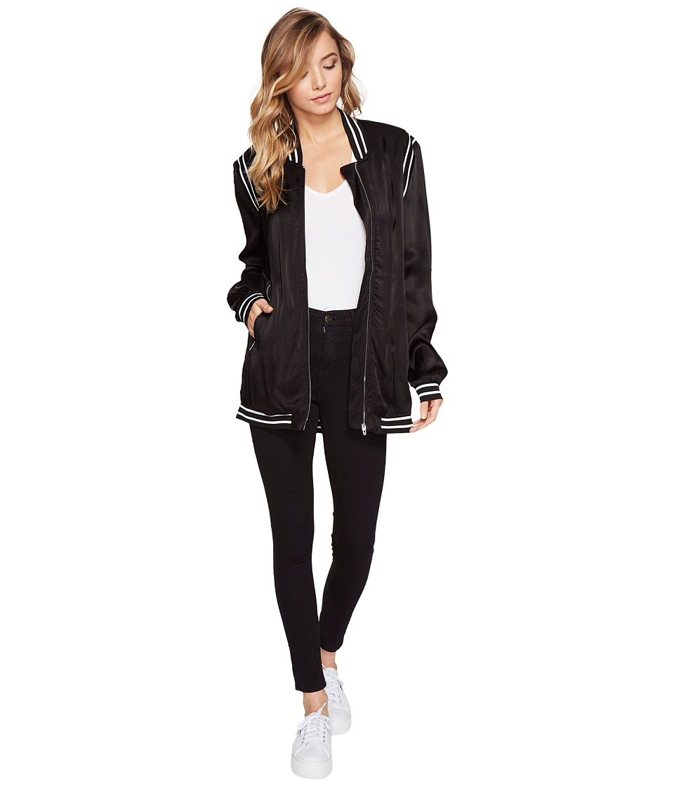 Blank NYC - Long Bomber with Black White Rib Details in Power Play (Power Play) Women's Coat