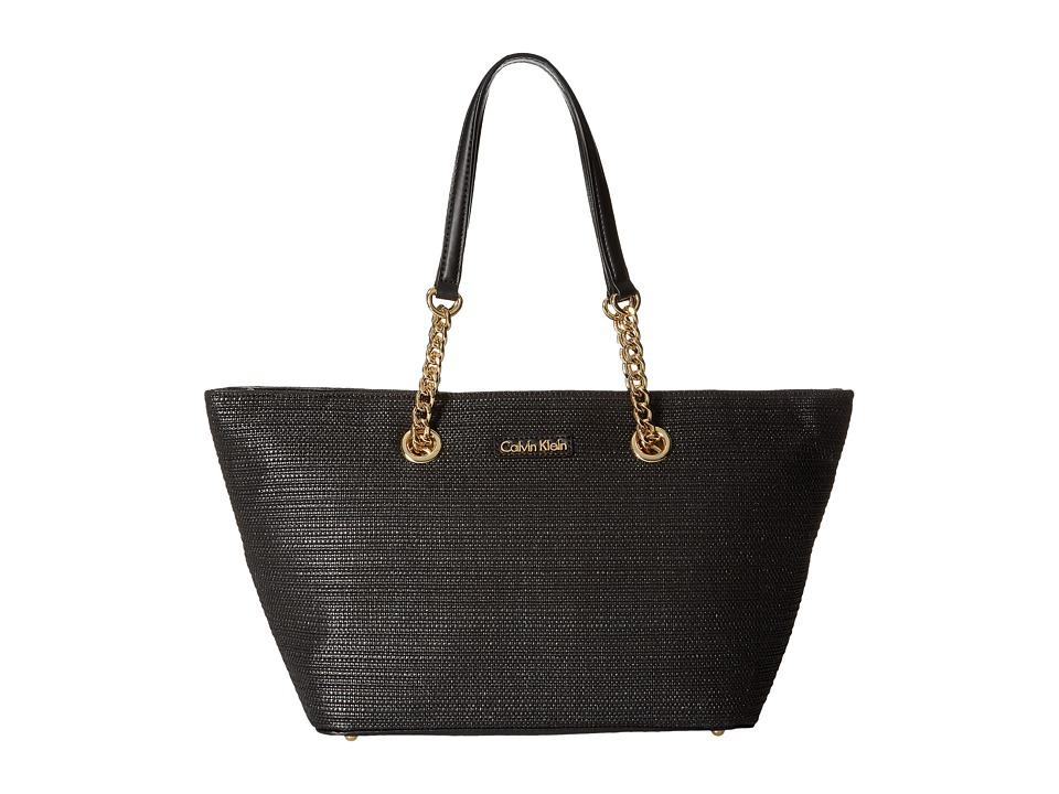 Calvin Klein - Florence Raffia Nylon Tote (Black Raffia) Tote Handbags