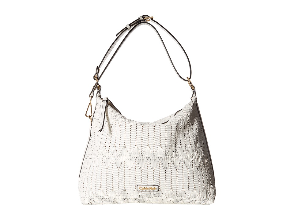Calvin Klein - Rattan Leather Hobo Bag (White Rattan) Hobo Handbags
