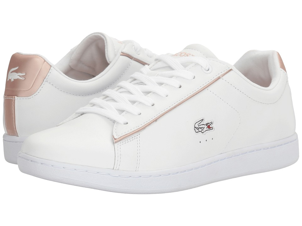 Lacoste - Carnaby Evo 217 2 (White/Light Pink) Women's Shoes