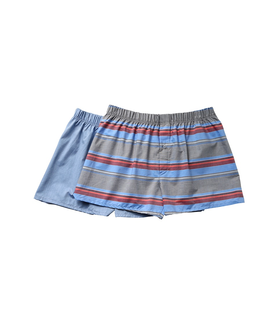 Hanro - Fancy Woven Boxer 2-Pack (Horizontal Stripe/Blue) Men's Underwear