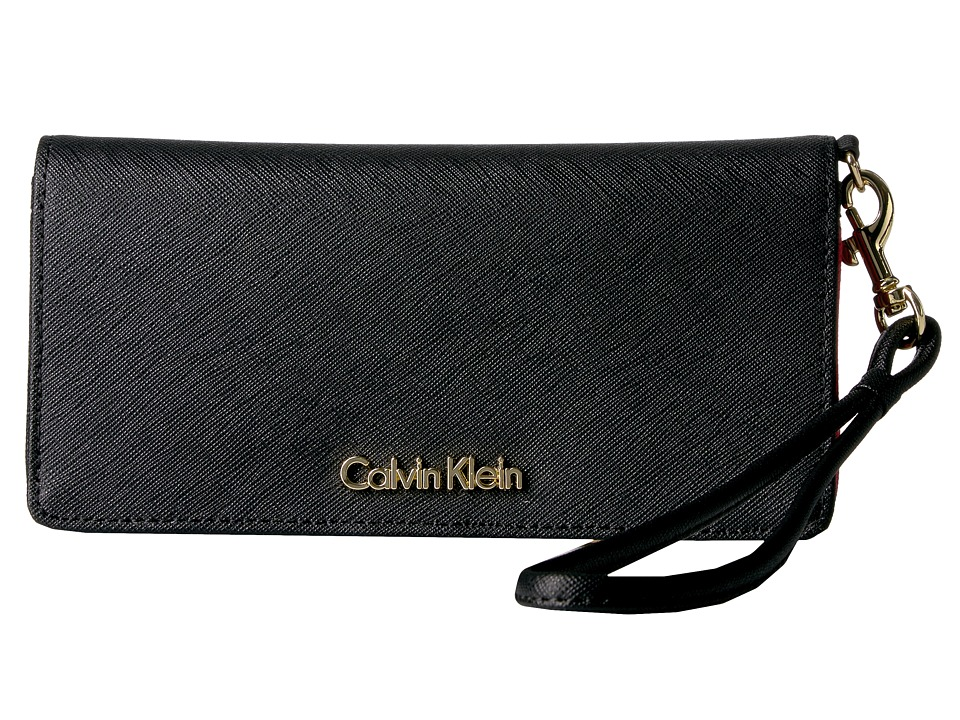 Calvin Klein - Saffiano Wallet (Black/Pop Interior) Wallet Handbags