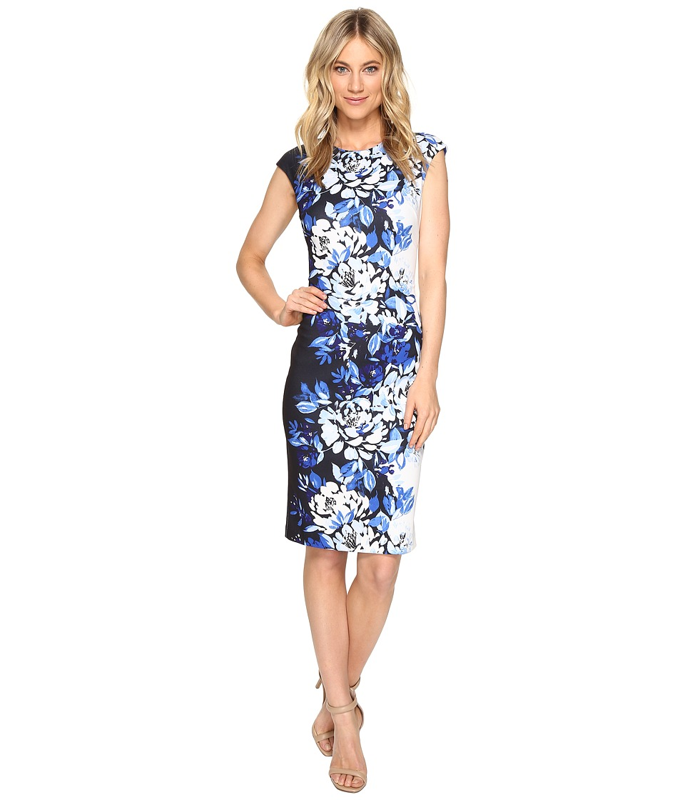 Vince Camuto - Printed Extended Cap Sleeve Bodycon Dress (Blue Multi) Women's Dress