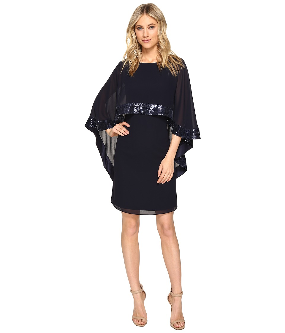 Vince Camuto Mini Dress with Cape Back Overlay and Sequin Trim (Navy) Women