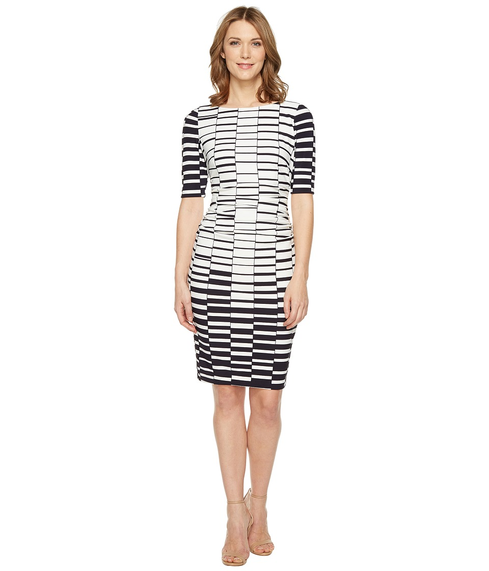 Vince Camuto - Printed Knit Bodycon Dress with Ruching (Navy/Ivory) Women's Dress
