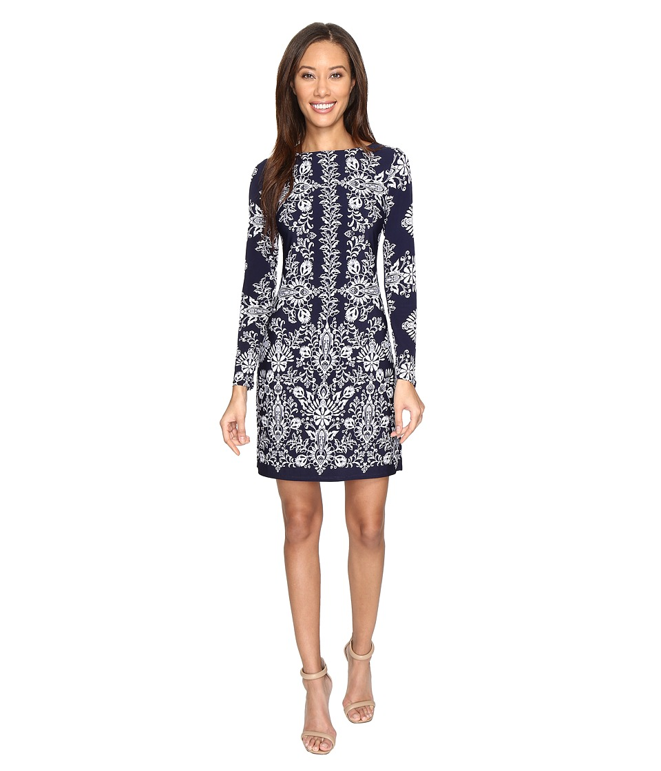 Vince Camuto - Ity Long Sleeve T-Body Dress (Navy/Ivory) Women's Dress