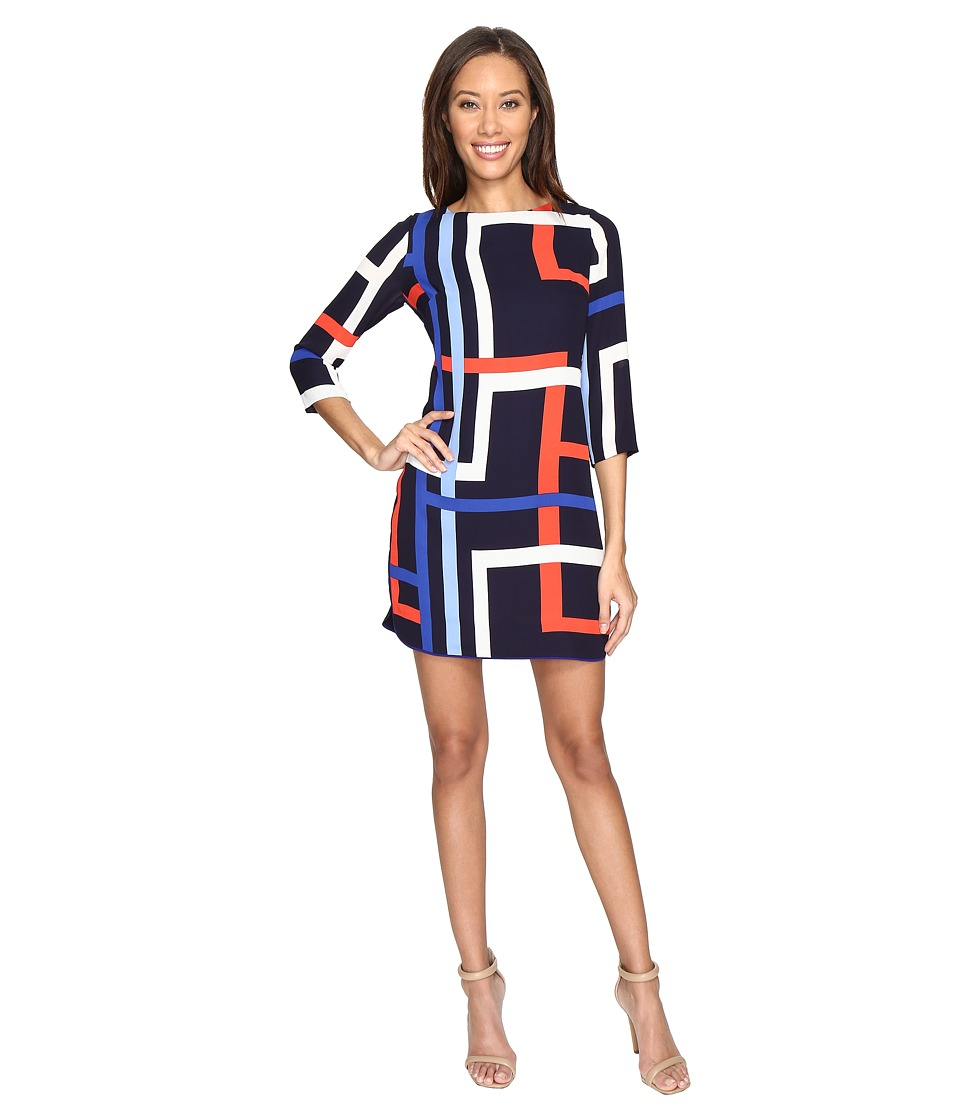 Vince Camuto - Printed Chiffon Shift Dress with Elbow Sleeves (Navy/Red) Women's Dress