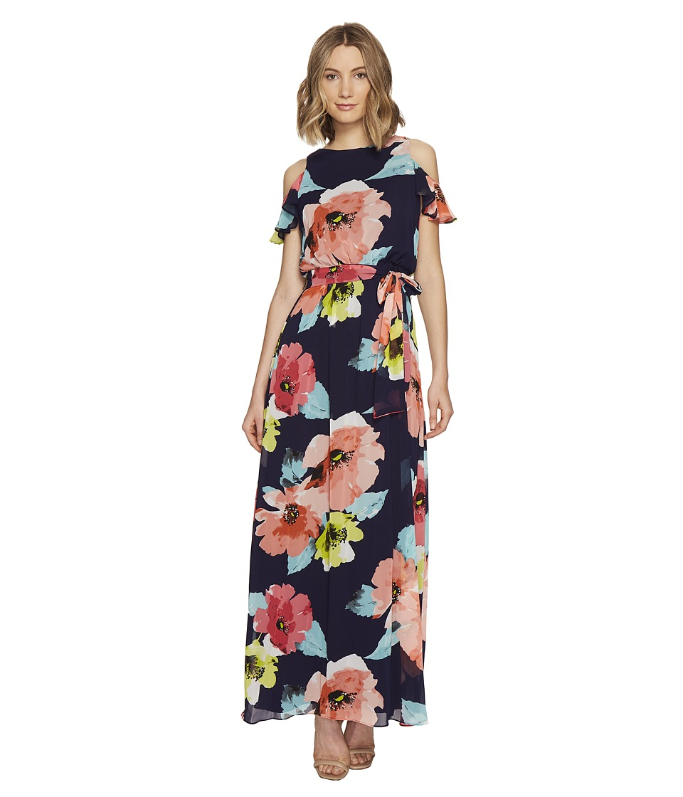 Vince Camuto - Printed Chiffon Cold Shoulder Maxi (Poppy/Navy) Women's Dress