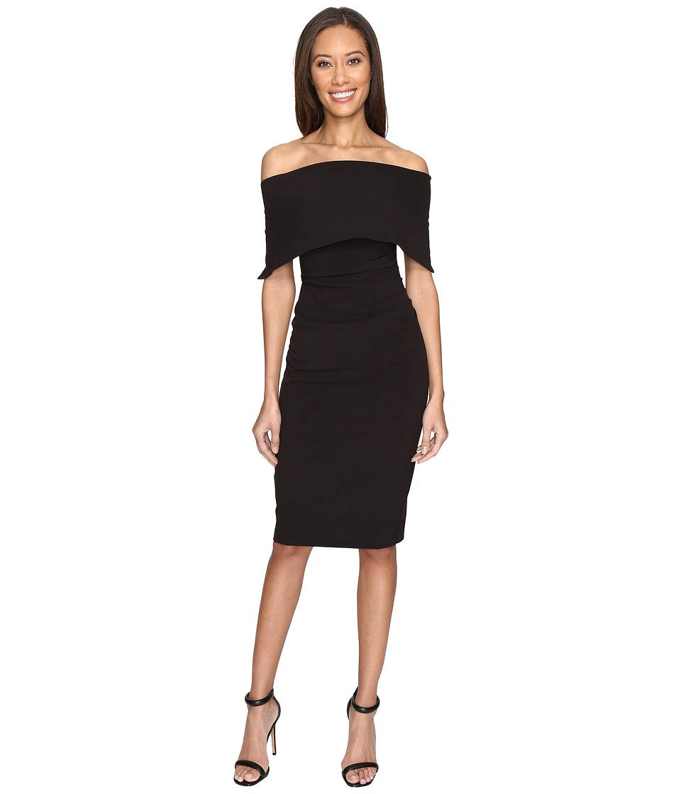 Vince Camuto - Off the Shoulder Midi Dress with Side Tuck (Black) Women's Dress