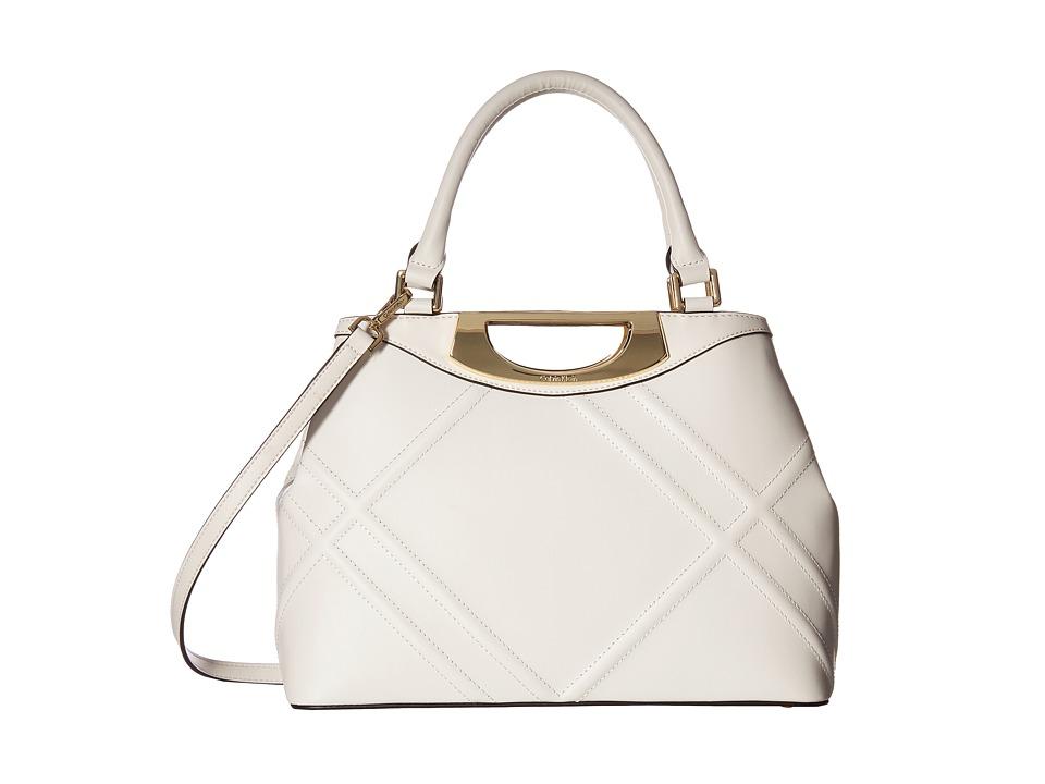 Calvin Klein - Serena Quilted Leather Satchel (White) Satchel Handbags
