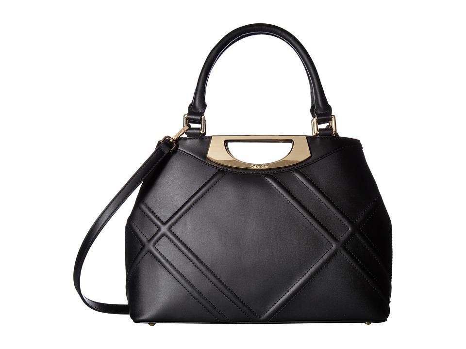 Calvin Klein - Serena Quilted Leather Satchel (Black/Gold) Satchel Handbags