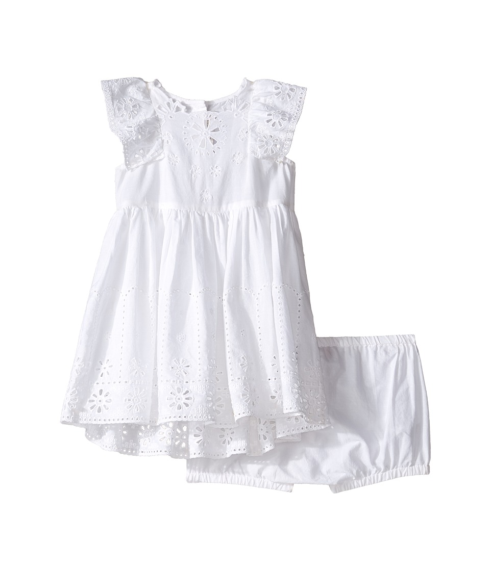 Stella McCartney Kids - Sundae Flutter Sleeve Eyelet Dress (Infant) (White) Girl's Dress