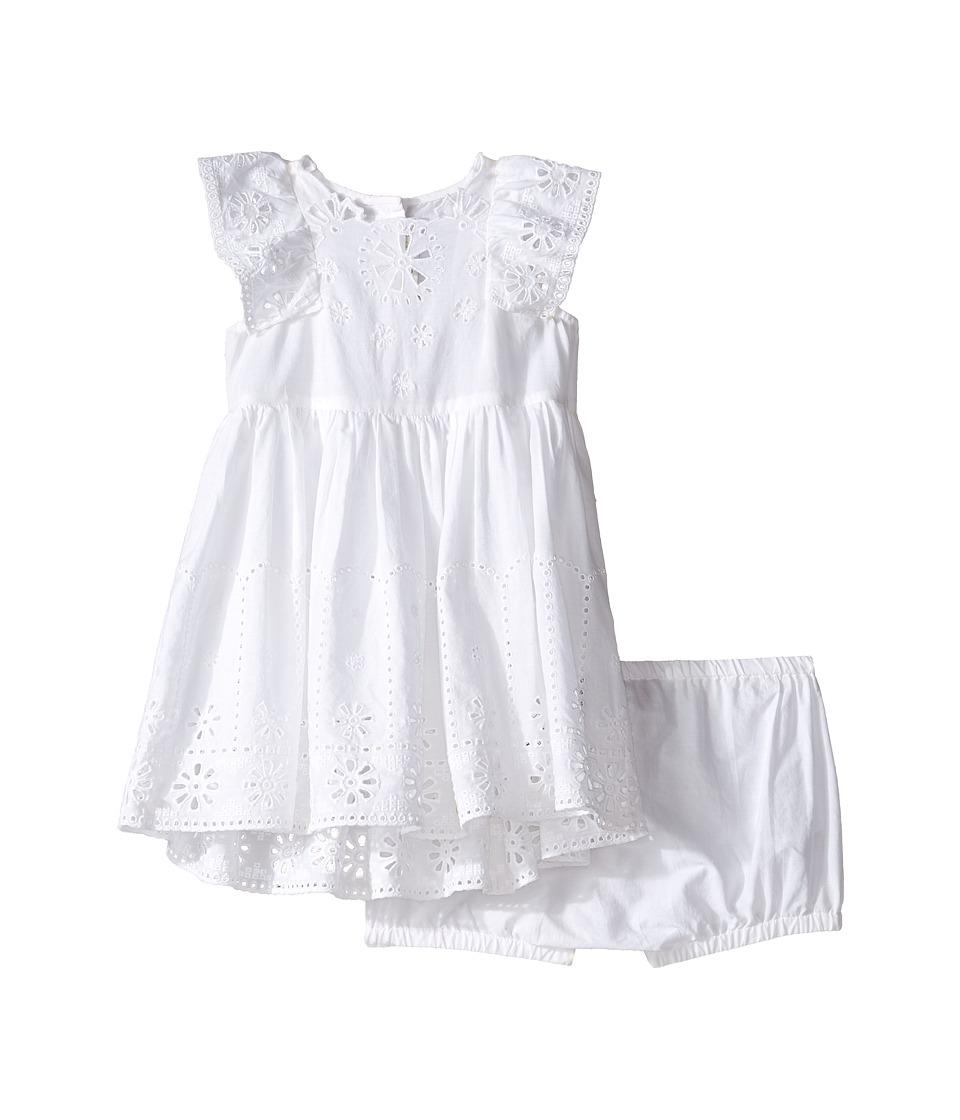 Stella McCartney Kids - Sundae Flutter Sleeve Eyelet Dress (Infant) (White) Girl's Dress