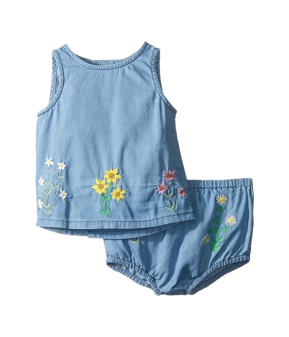 Stella McCartney Kids - Trixie Floral Embroidered Top and Bloomer Chambray Set (Infant) (Light Blue) Girl's Active Sets