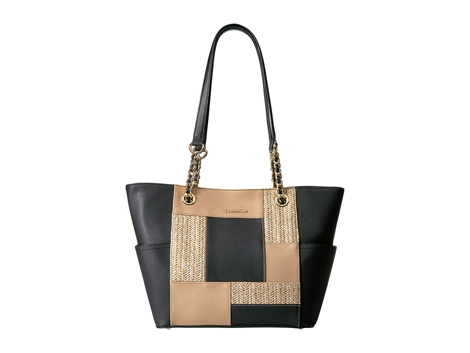 Calvin Klein - Straw Tote (Black Combo) Tote Handbags