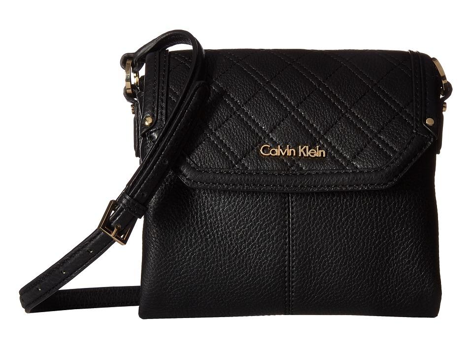 Calvin Klein - Unlined Leather Crossbody (Black) Cross Body Handbags