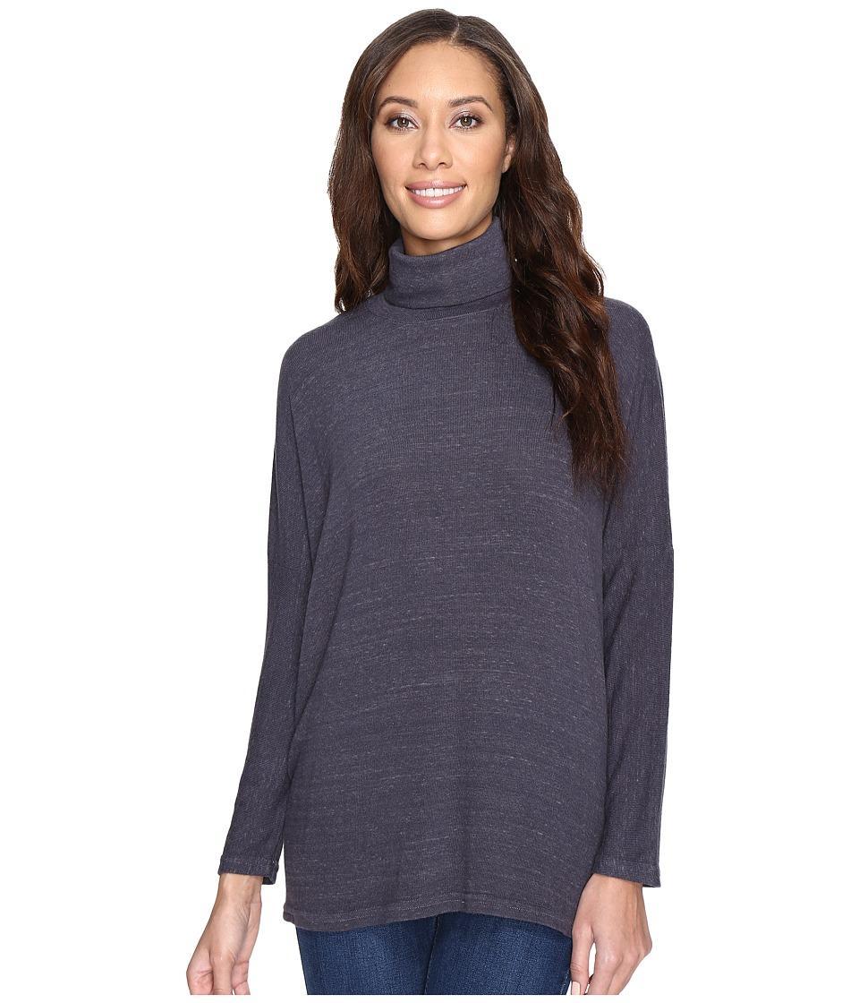 Allen Allen - Long Sleeve Drop Shoulder T-Neck (Flint) Women's Clothing