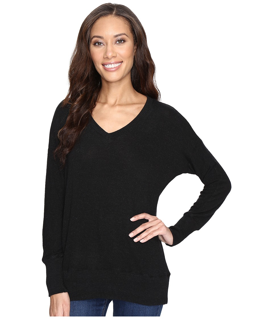 Allen Allen - Long Sleeve Sweater Vee (Black) Women's Sweater