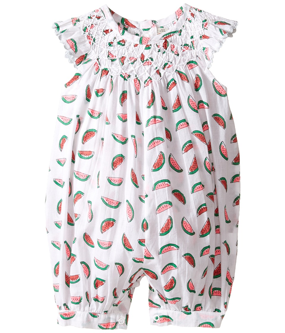 Stella McCartney Kids - Sun Smocked Romper with Watermelon Print (Infant) (White) Girl's Jumpsuit & Rompers One Piece