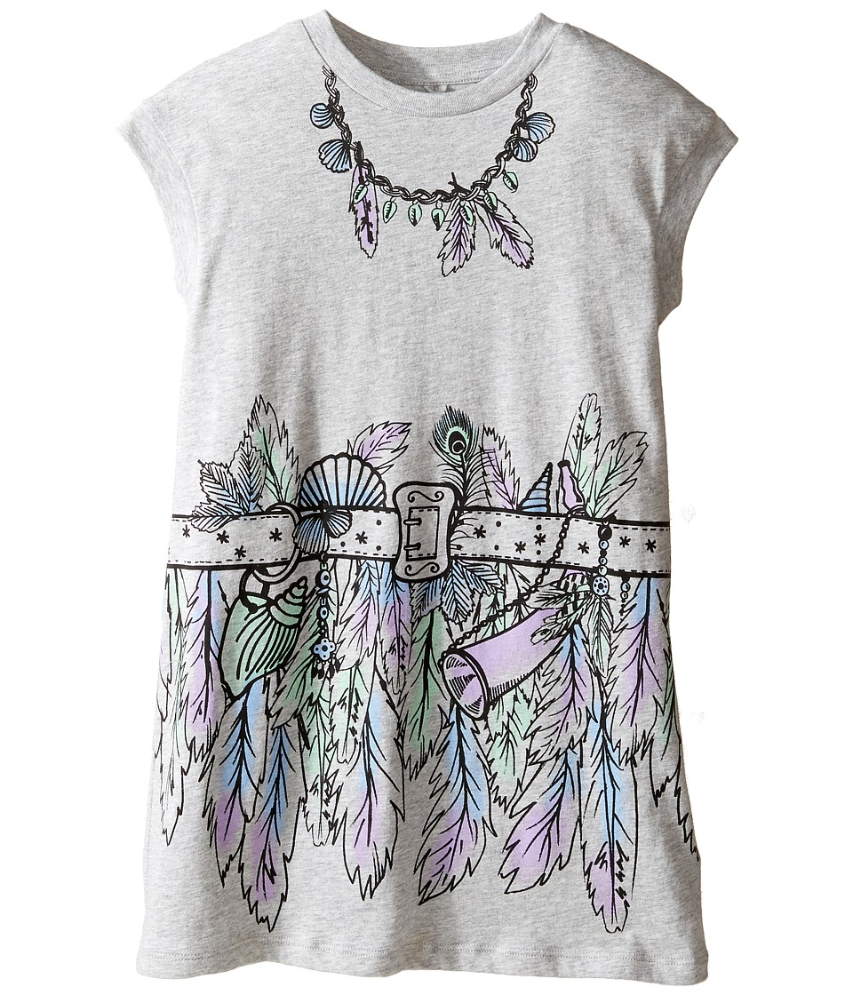 Stella McCartney Kids - Joni Jersey Dress with Feather and Belt Graphic (Toddler/Little Kids/Big Kids) (Grey) Girl's Dress