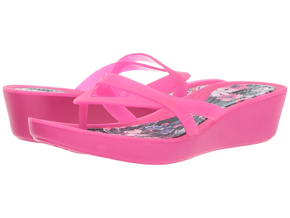 Crocs - Isabella Print Wedge Flip (Candy Pink/Tropical) Women's Sandals