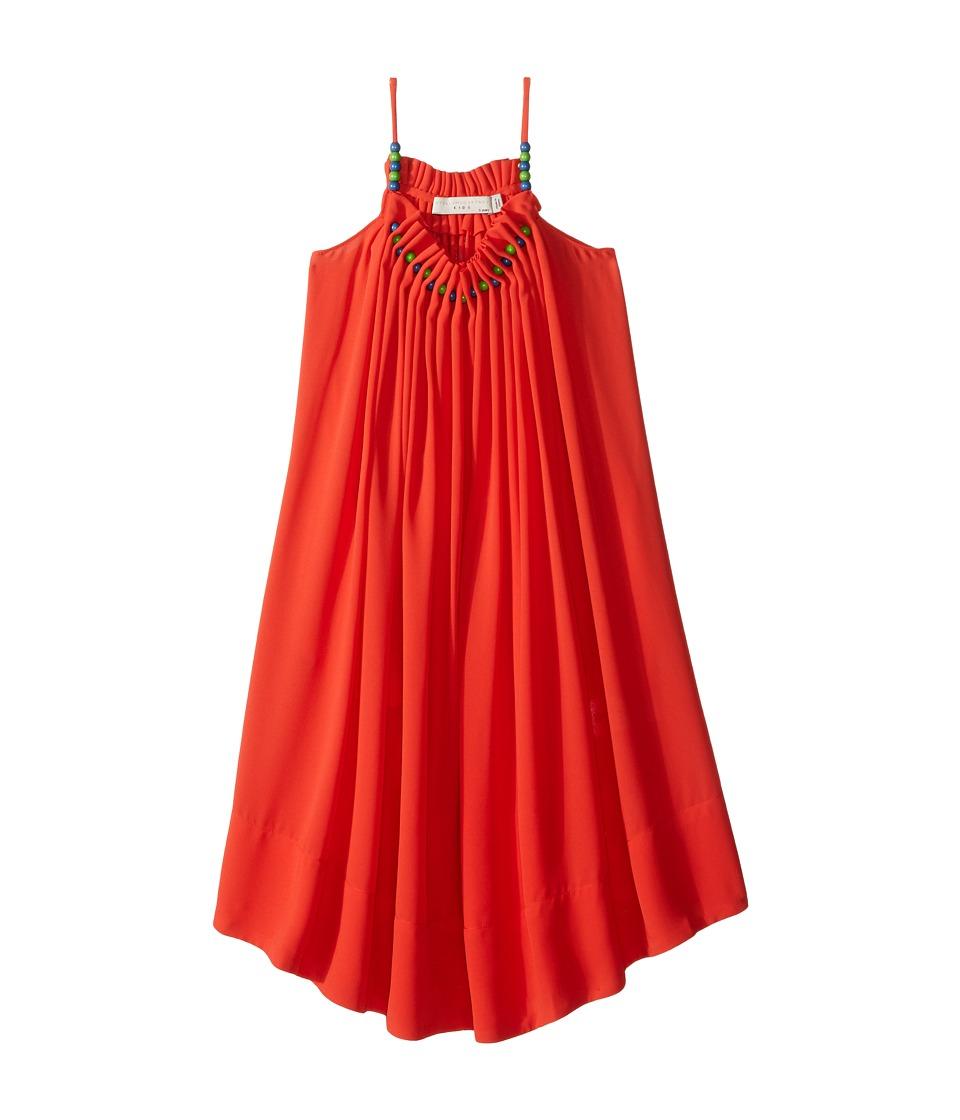 Stella McCartney Kids - Hope Flowing Crepe Dress w/ Beaded Neckline (Toddler/Little Kids/Big Kids) (Red/Orange) Girl's Dress