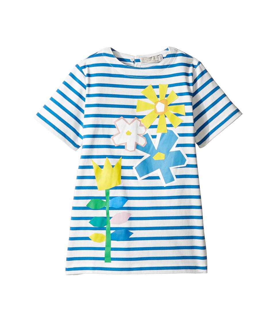 Stella McCartney Kids - Isabella Striped Dress with Floral Graphic (Toddler/Little Kids/Big Kids) (Blue/White) Girl's Dress