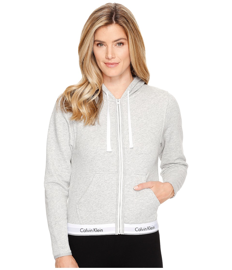 Calvin Klein Underwear - Modern Cotton Line Extension Top Full Zip Hoodie (Grey Heather) Women's Sweatshirt