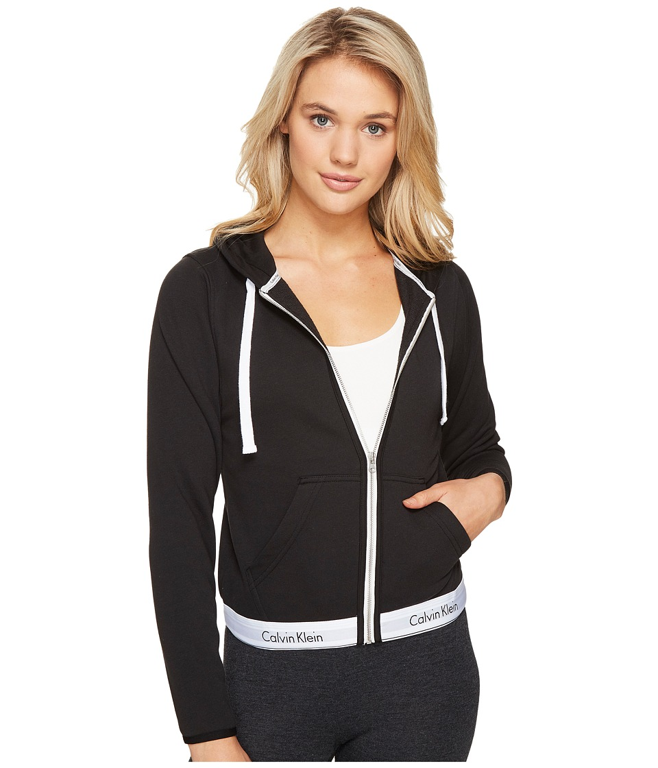 Calvin Klein Underwear - Modern Cotton Line Extension Top Full Zip Hoodie (Black) Women's Sweatshirt
