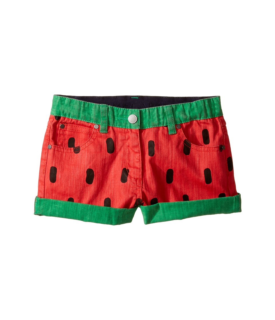 Stella McCartney Kids - Hula Watermelon Denim Shorts (Toddler/Little Kids/Big Kids) (Red) Girl's Shorts