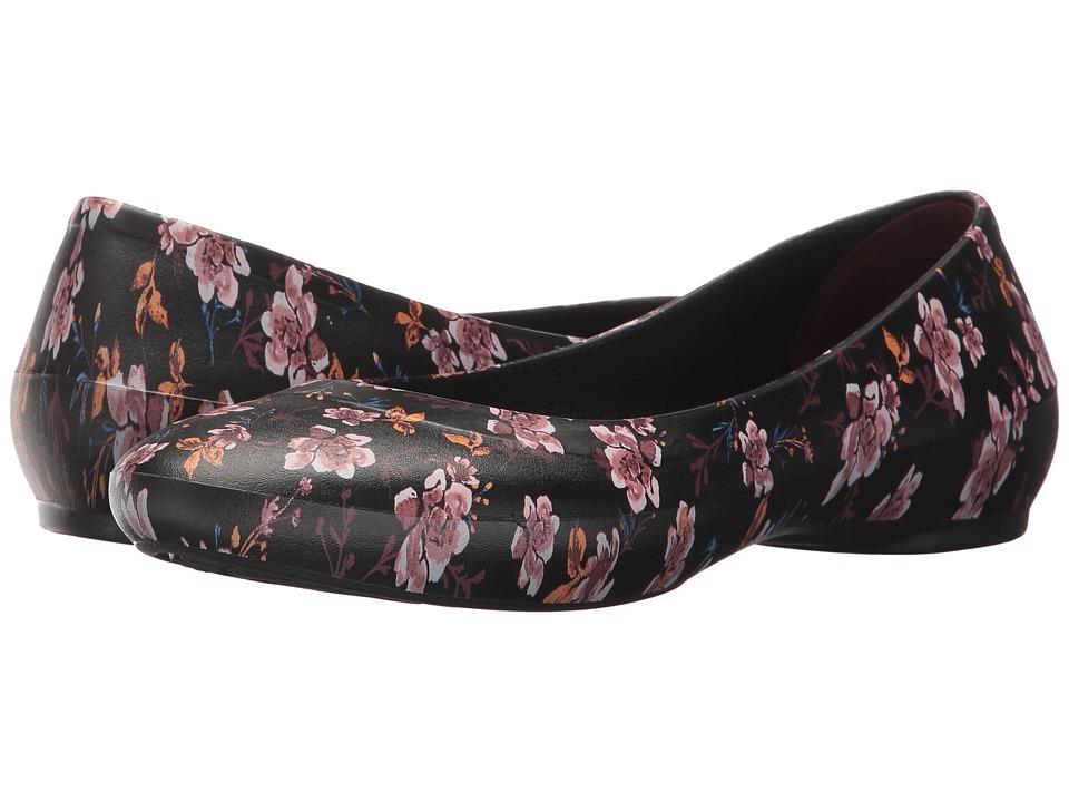 Crocs - Lina Graphic Flat (Black/Floral) Women's Flat Shoes
