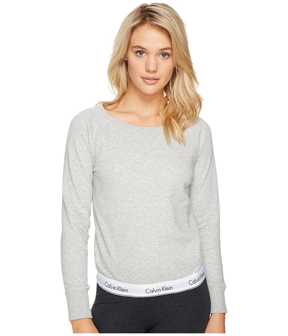 Calvin Klein Underwear Modern Cotton Line Extension Top Long Sleeve Sweatshirt (Grey Heather) Women