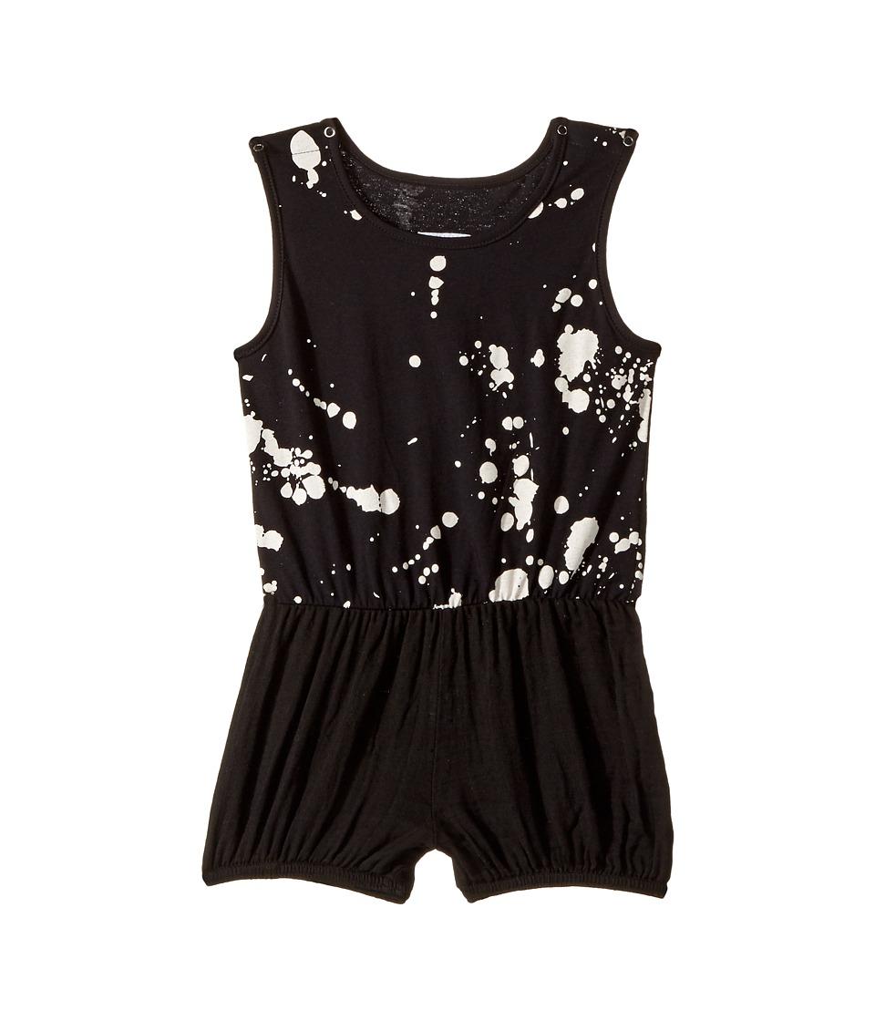Nununu - Splash Yoga Overall (Infant/Toddler/Little Kids) (Black) Girl's Overalls One Piece