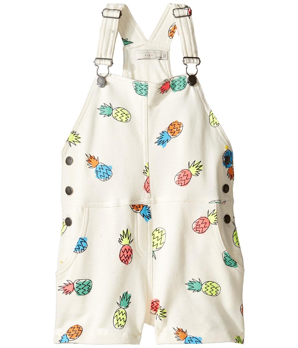 Stella McCartney Kids - Pandora Pineapple Print Jersey Short Overalls (Toddler/Little Kids/Big Kids) (Off-White) Girl's Overalls One Piece