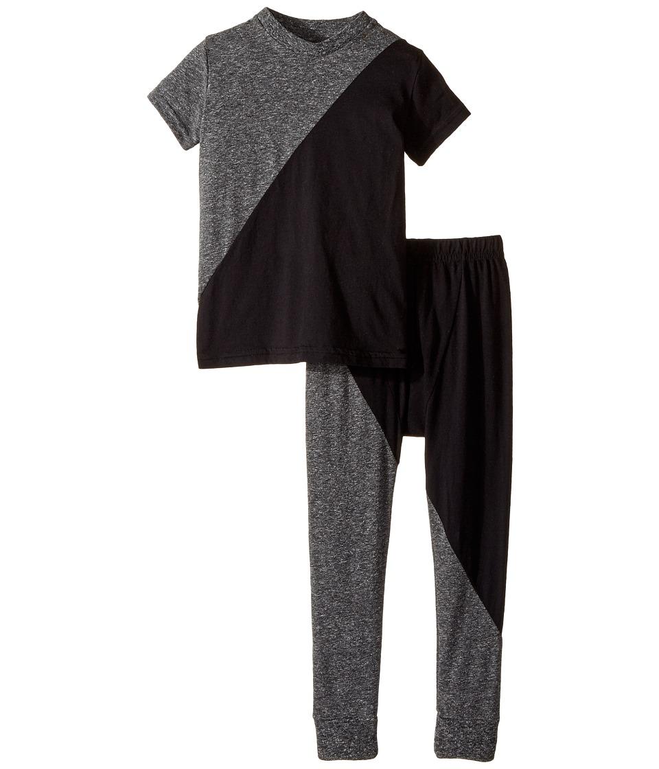 Nununu - 1/2 and 1/2 Loungewear (Infant/Toddler/Little Kids) (Black/Charcoal) Kid's Pajama Sets