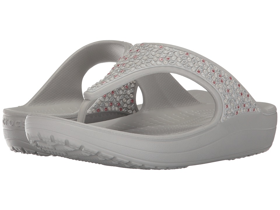 Crocs - Sloane Embellished Flip (Pearl White) Women's Sandals